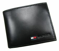 New Tommy Hilfiger Mens Leather Billfold Coin Wallet Black