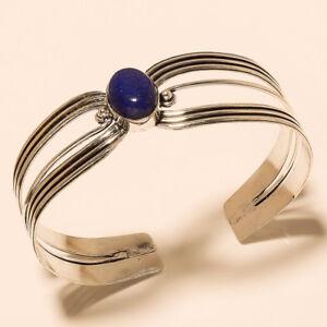 Silver-Plated-Cuff-Bracelet-Bangel-Lapis-Lazuli-Handmade-Jewelry