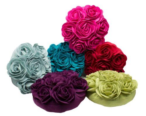 """6 Colors Unique Multi Rose Motif Decorative 15/"""" Round Decorative Throw Pillow"""