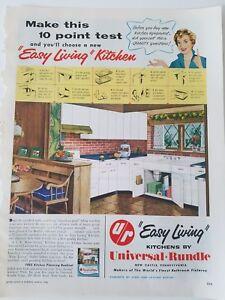 Details about 1954 Universal Rundle white kitchen cabinets retro 1950s  design ad