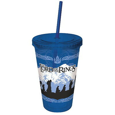 The Lord of the Rings Cast Silhouette 16 oz Acrylic Travel Cup with Straw UNUSED
