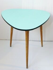 TABLE HIGH TRIPOD PLATE FORMICA GREEN PALE/ TURQUOISE 1950 VINTAGE ...