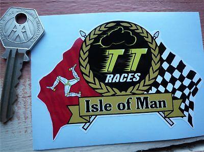 75mm ISLE of MAN TT Races MANX Moto GP Racing 3 Vinyl Bike-Helmet Stickers Decals x2