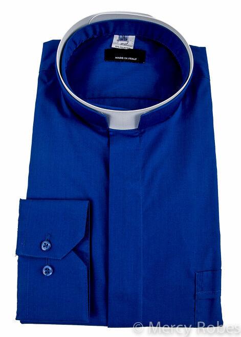Mens Premium Roman Collar Clergy Shirt (Royal Blau),Tonsure, Long Sleeve, Priest