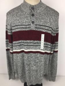 Croft-amp-Barrow-Men-039-s-2XL-Gray-Maroon-Henley-Pullover-Sweater-NWT-100-Cotton