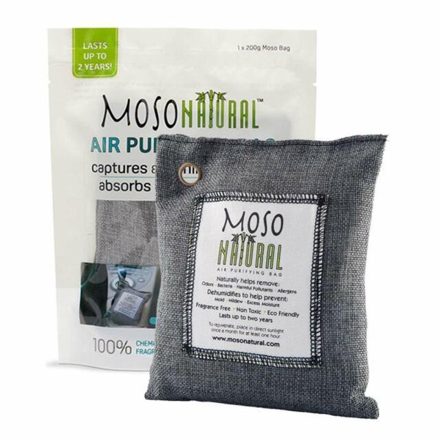 Moso Natural Air Purifying Bag. Odor Eliminator for Kitchens, Basements, Bedr...