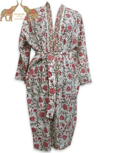 Women Fashion Kimono Cotton Boho Long Floral Hippie Dress Hand Block Casual Robe