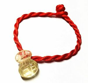 Feng Shui Red String Bracelet Citrine Yellow Crystal Money Bag For Wealth Ebay