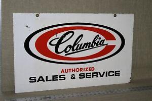 Rare Années 1950 Columbia Bicycle Dealer 2-verso métal signe service de vente Moteur Gaz-afficher le titre d`origine slv64hYC-09091736-841884885