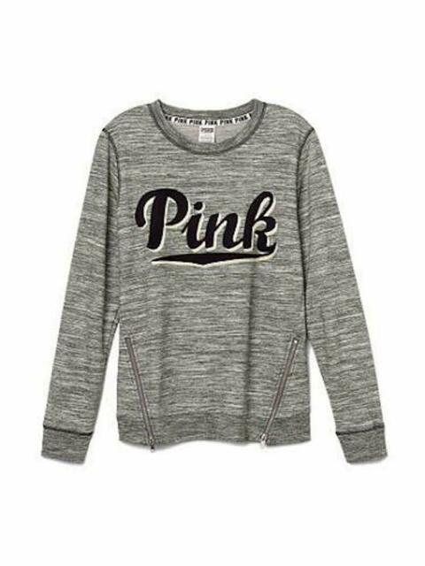 VICTORIA'S SECRET Pink Side Zip Perfect Crew Sweatshirt XSmall NWT Marled Gray