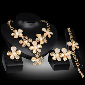 Fashion women 18k gold plated crystal pearl wedding party for Is gold plated jewelry worth anything