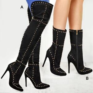 403a00cb Details about Ladies Womens Studded Thigh High Over The Knee Boots Pointy  Stiletto Heel Shoes