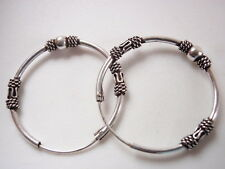 Bali Hoop Earrings 925 Sterling Silver with Decorative Accents 15 mm