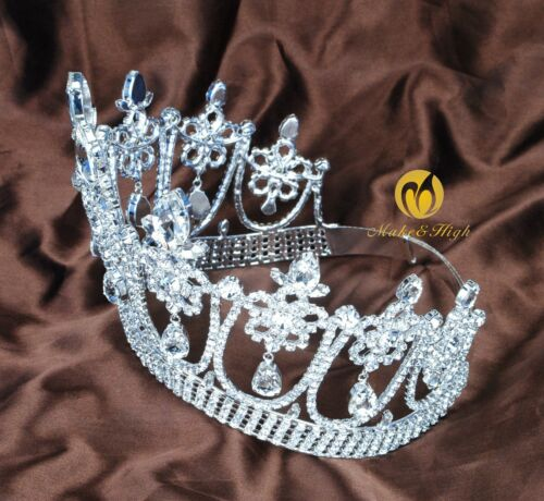 Princess Large Tiara Floral Contoured Crown Clear Crystal Wedding Bridal Pageant