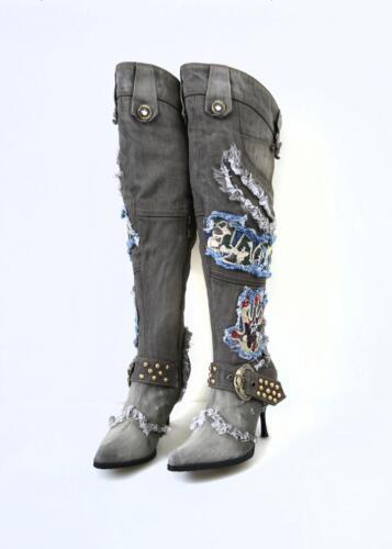 Women/'s Denim Rhinestone Rivet Zipper Stiletto Heel Pointy Toe Knee High Boots