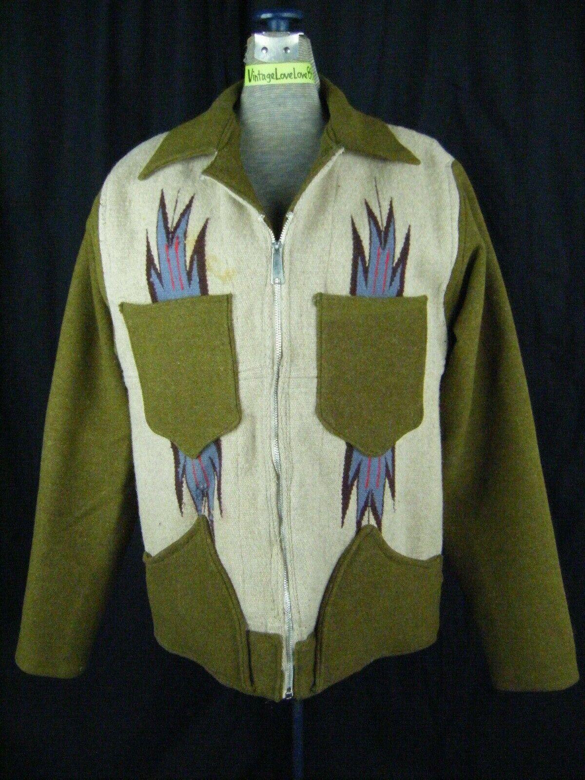 Vintage Chimayo Blanket Men Olive Green/Taupe Jac… - image 2