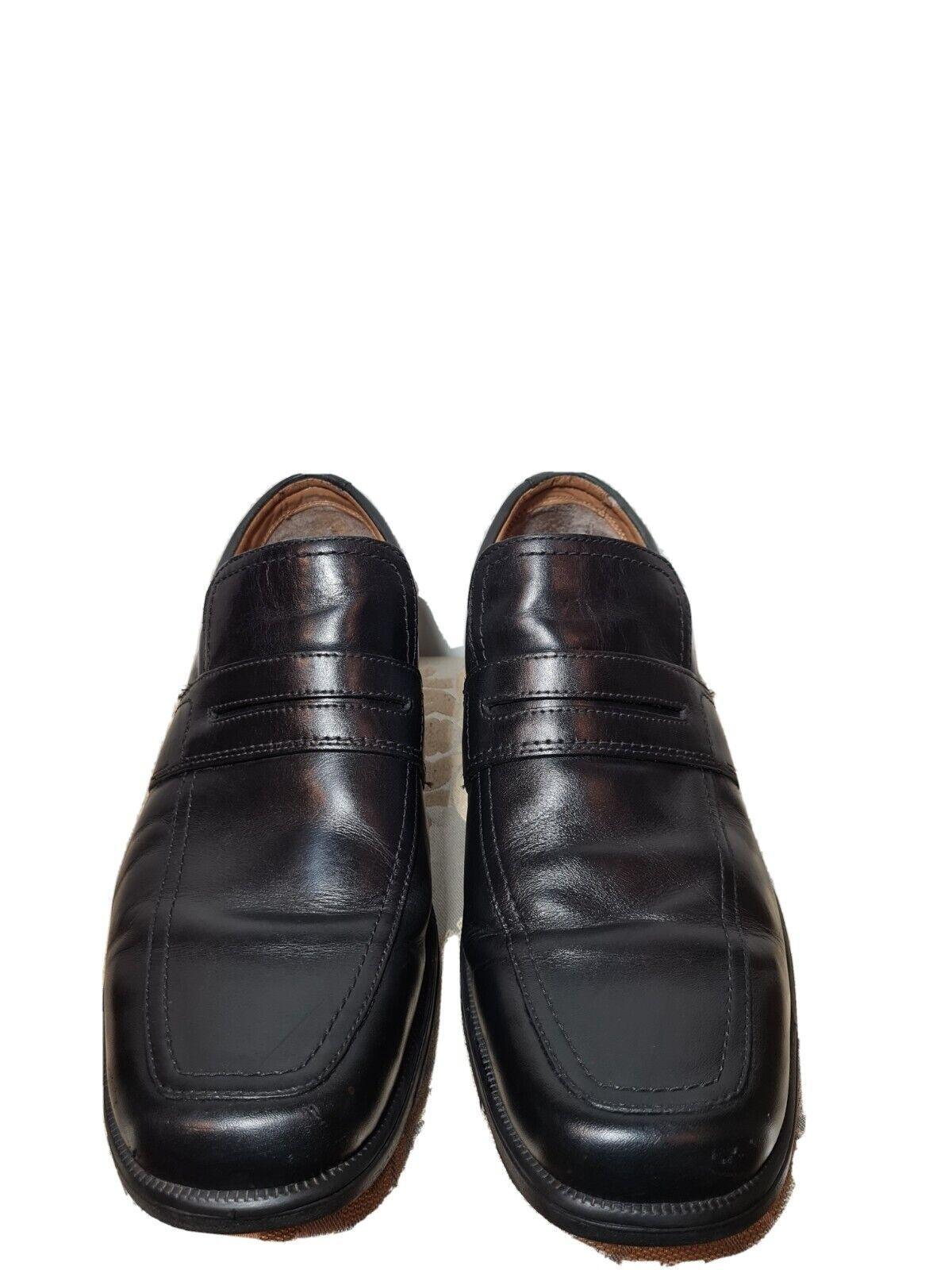 CLARKS Men's Leather Black Slip On Loafers UK Size 9G