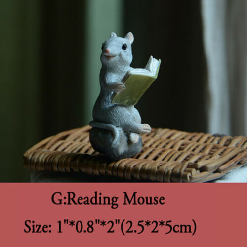 Resin Miniature Reading Book Animals Figurine Art Works Home Decor Display Gifts