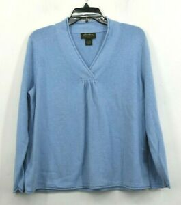 Eddie-Bauer-Womens-Blue-Pullover-Top-V-Neck-Cotton-Blend-Long-Sleeves-Petite-XL