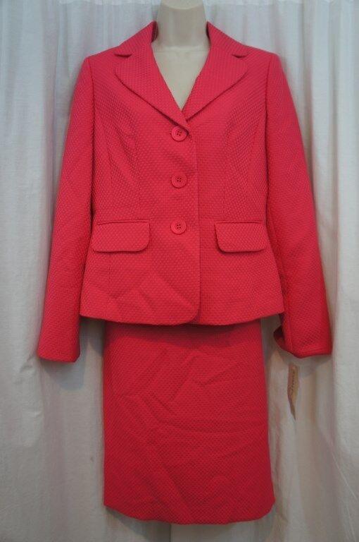 Evan Picone Skirt Suit Sz 12 Geranium Pink
