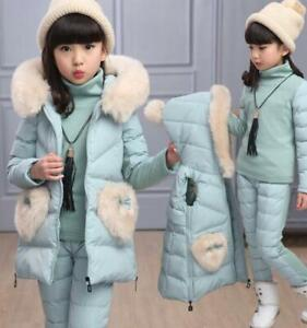 UK-Girls-Winter-Hooded-Fur-Down-Coat-Warm-Pant-Stand-Collar-Sweater-Outfits-3Pcs