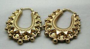 Lovely-Pair-Of-9-Carat-Gold-Fancy-Hoop-Earrings