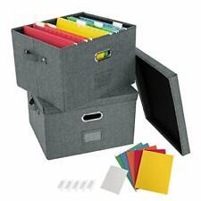 2 Pack File Organizer Box Office Document Storage With Lid School Dark Grey