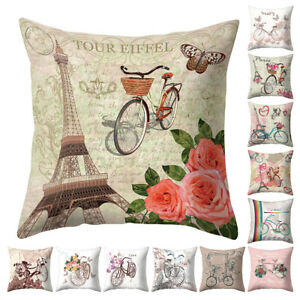 Am-Bicycle-Flower-Eiffel-Tower-Pillow-Case-Cushion-Cover-Bed-Car-Cafe-Decor-Wid