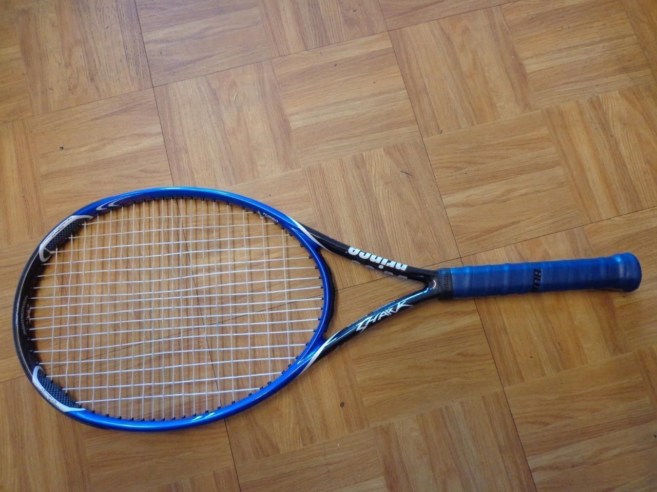 Prince Shark Turbo Longbody Midplus 100 head 10.6oz 4 3 8 grip Tennis Racquet