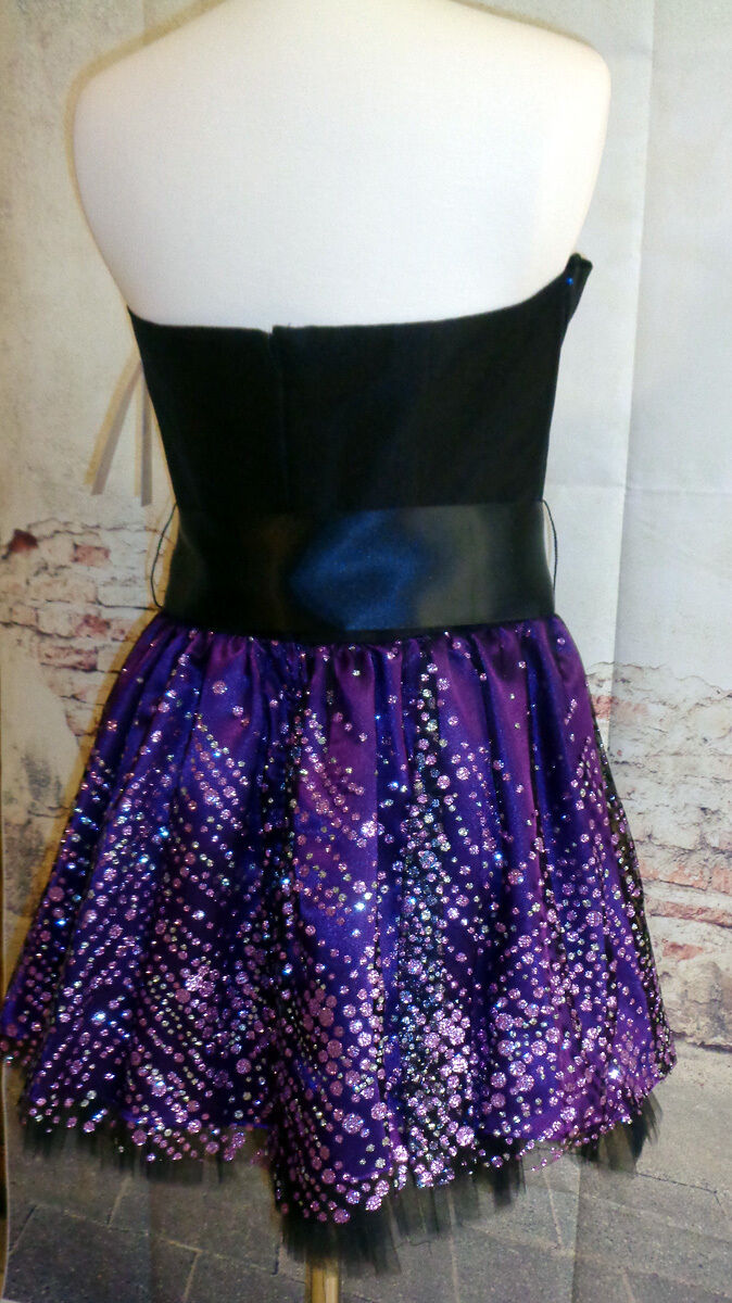 2pc Matching Shrug Party Dress Purple and Black Tulle S