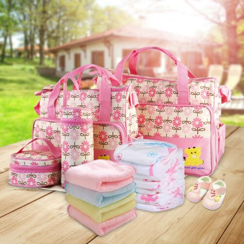 5X Baby Changing Diaper Nappy Bag Mummy Mother Handbag Multi-functional Set