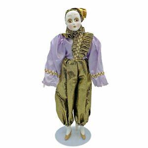"""Vintage 16"""" Pierrot Doll Porcelain Harlequin Jester Gold Lavender- No Doll Stand"""