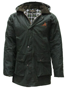Mens-Eirinn-Country-Padded-Wax-Cotton-Hunting-Jacket-Quilted-Coat-Pheasant-Motif