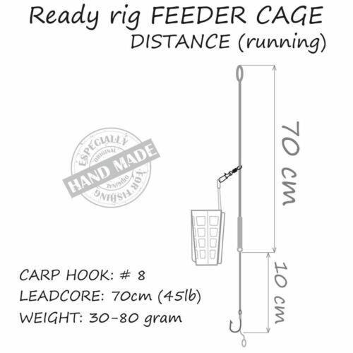 CAGE FEEDER DISTANCE Running Lead fertig gebundene Komplett Carp Karpfen Montage
