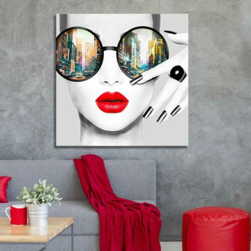 Contemporary Wall Art Modern Fashion Women With Red Lip Canvas Print Stylish Fem