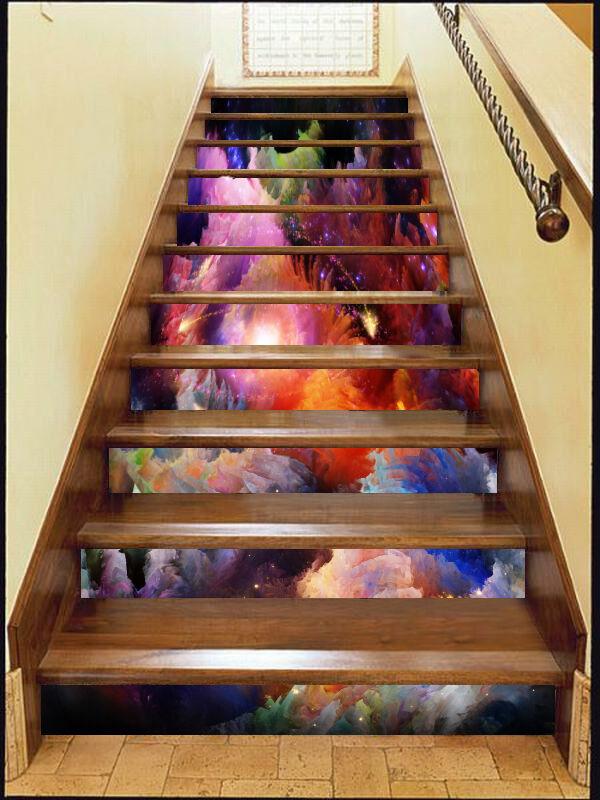 3D Farbe Wolke 45 Stair Risers Dekoration Fototapete Vinyl Aufkleber Tapete DE