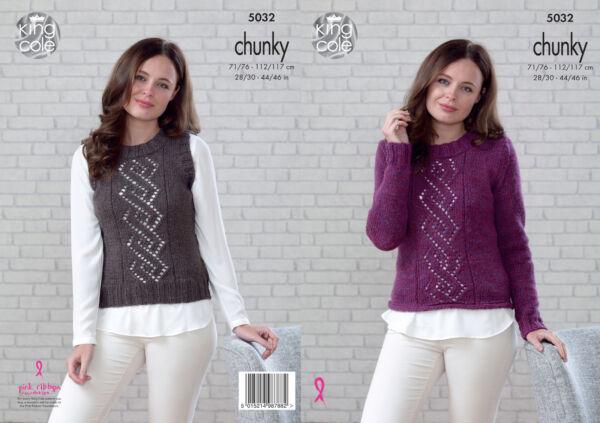 ae7b99dac14b Womens Lacy Panel Jumper Slipover Ladies Chunky Knitting Pattern ...
