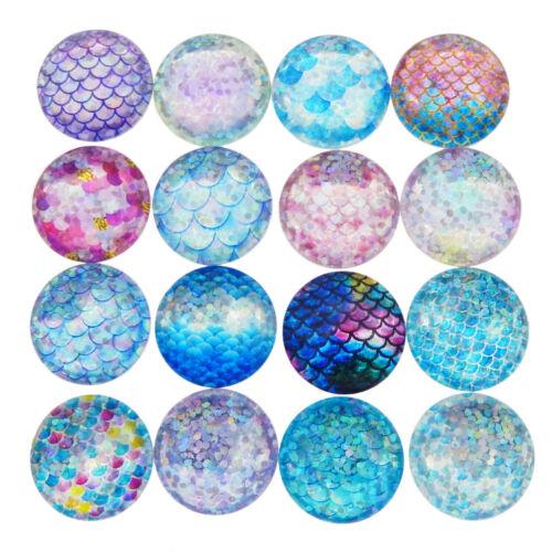10 pcs Glass Cabochons Mixed Mermaid Fish Scale Pattern Flatbacks Covers