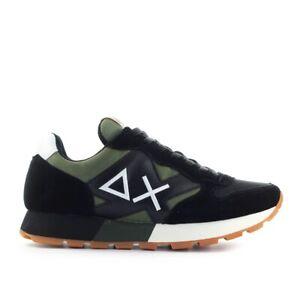Scarpe-da-Uomo-Sneaker-Jaki-Solid-Bicolor-Nero-Verde-Militare-Sun68-FW2020