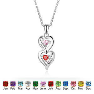 293758abdf Image is loading Personalized-Couple-Heart-Pendant-Custom-Love-Name- Birthstone-