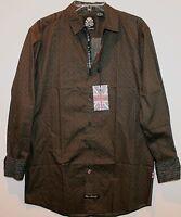 English Laundry Mens Brown Black Dots Cotton Button-front Shirt $89 M
