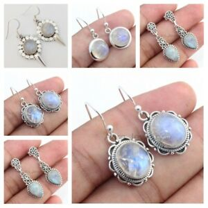Rainbow-Moonstone-925-Sterling-Silver-Earrings-Round-Jewelry-Mothers-Day-Gift