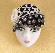 LADY HEAD woman FACE Porcelain-Look Resin brooch pin Vintage Crochet Flapper RS