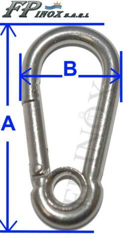 Mousqueton à oeil Ø5mm Longueur 50mm Lot 4 Pièces inox A4