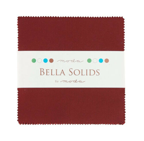 Patchwork Quilting 5 Inch Squares Moda Fabric Charm Pack Bella Solids Burgundy