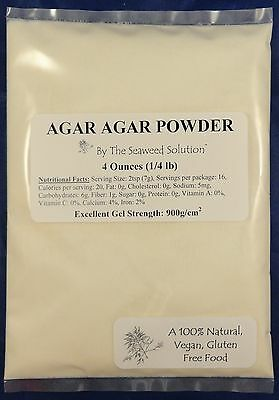 AGAR AGAR POWDER - 4 Ounces (1/4 lb) - All Natural Seaweed - U.S. Seller!