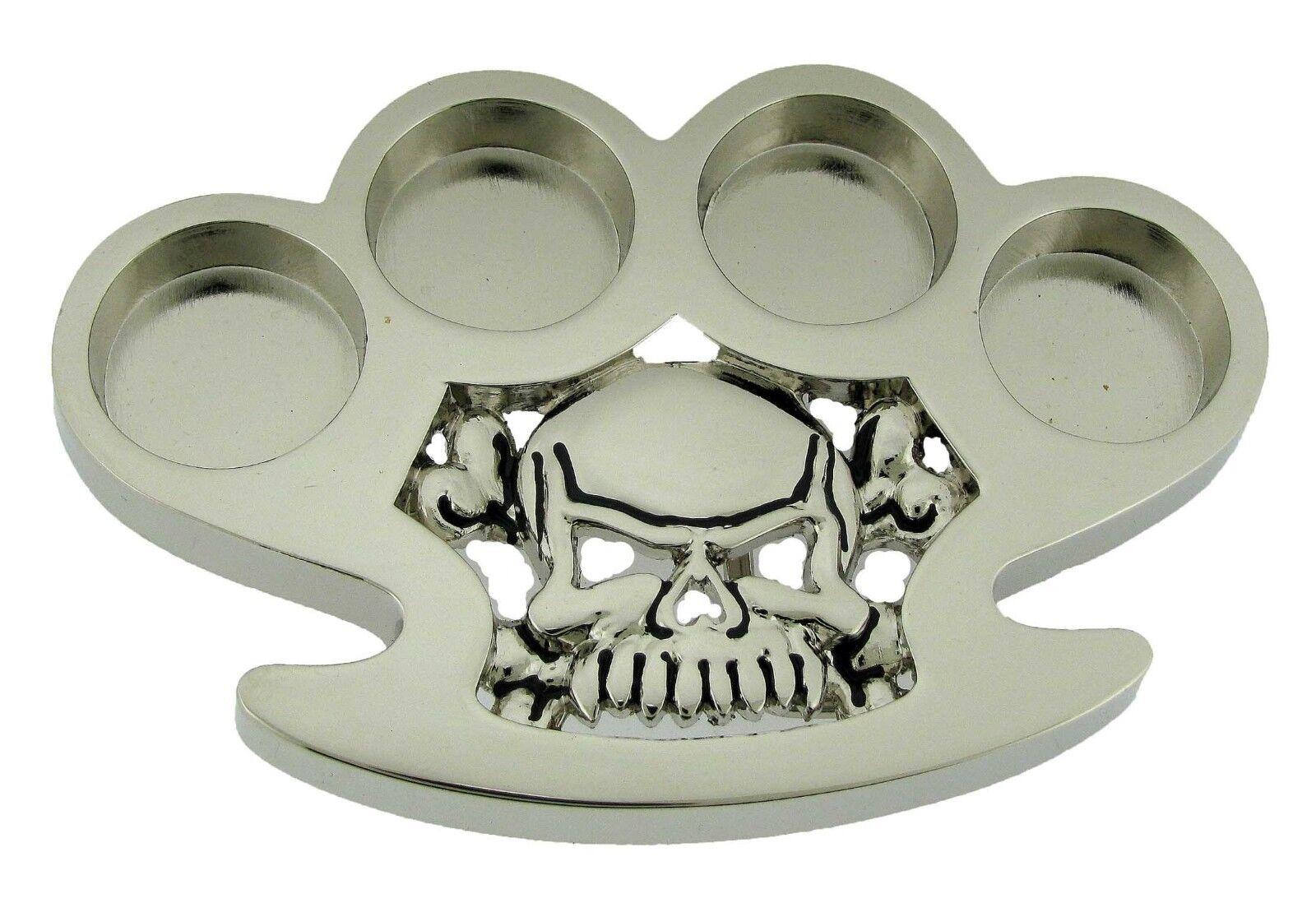 Rock Rebel Totenkopf Gürtelschnalle Silber Metal Knochen Halloween Pirat Kostüm