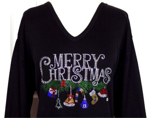 PLUS 3X Top Rhinestone Embellished MERRY CHRISTMAS W//Dangling Ornaments Design