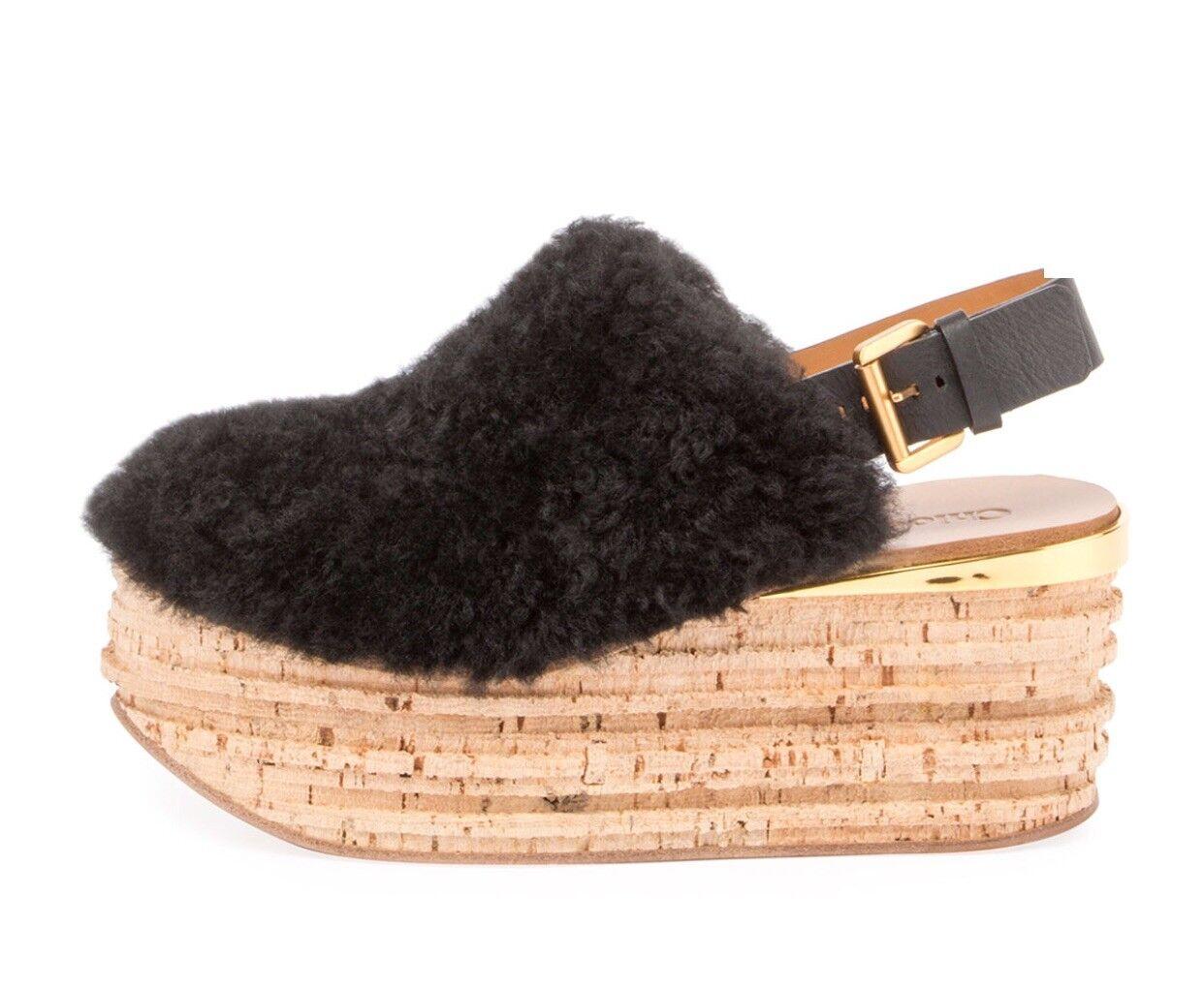 950 Chloe Camille Shearling Fur Platform Slide Slingback Sandals Black 41 NIB