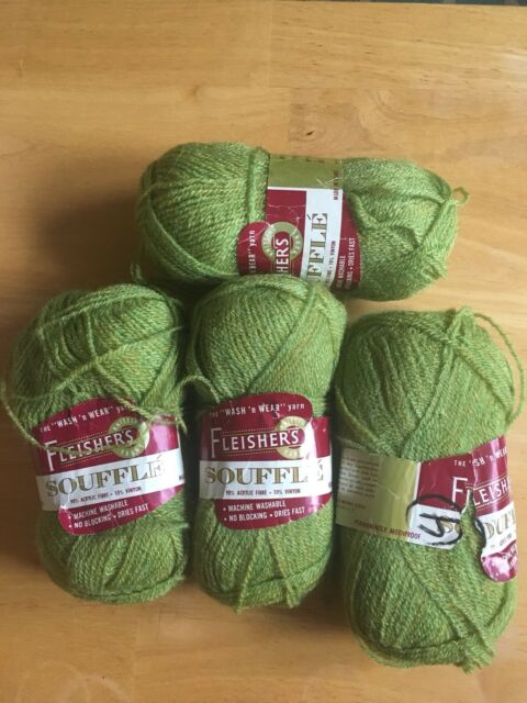 Vintage Yarn! Fleisher's Souffe - Green - Lot Of 4 Skeins